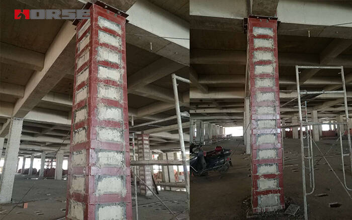 Strengthening of concrete column with adhesively bonded steel plate