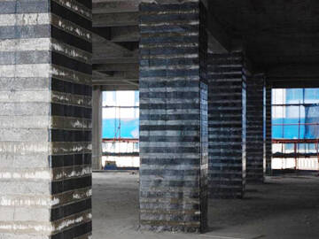 Column strengthening used CFRP and steel plate strengthening