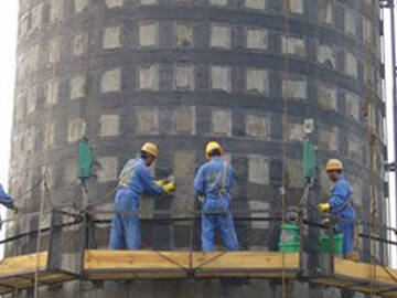 Carbon fiber reinforced polymer(CFRP) wrap strengthening chimney