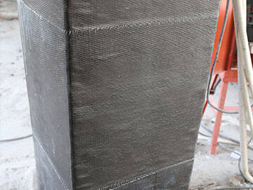 column reinforcement with carbon sheet