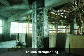 strengthening column by carbon fiber sheet
