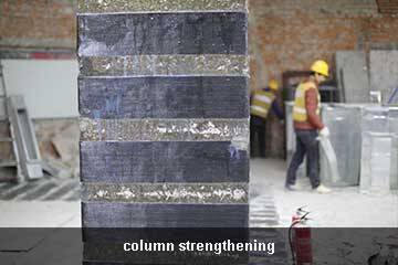 column retrofit by carbon fiber sheet